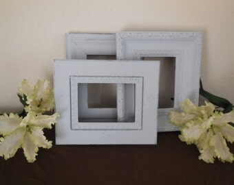 Gray Picture Frame, Set of 3, Grey Open Frame, Picture Frame, Shabby Chic 5X7, Gallery Wall, Wedding, Nursery, Home Decor - Custom options