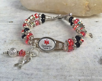 Medical Alert Bracelet, Diabetic Alert Bracelet, Diabetes Type 1 Bracelet, Diabetic Awareness Bracelet, Medical ID Bracelet, Diabetes