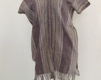 SALE..(from USD40.-) KAREN TRIBAL Purplish Gray Stripe Handwoven Cotton Tunic Top - Bohemian Boho  Loose Shirt - all Handmade (S-390)