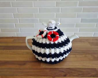 Nautical Tea Cosy - Hand Knit Tea Cosy - Seaside Tea Cosy - Beach Tea Cosy (MADE TO ORDER)