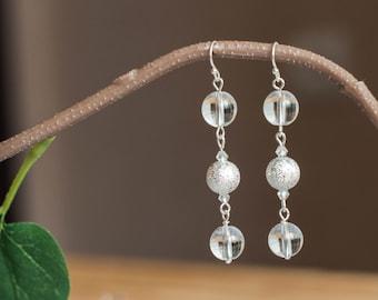 Clear quartz earrings, Clear earrings, Quartz dangle earrings, Quartz earrings, Rock crystal earrings, Clear earings, Quartz earings