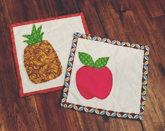 Pineapple & Apple Potholder Set