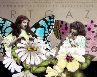 Little Girls With Butterfly Wings FAB 1900s FRENCH PHOTO Postcard Hand Tinted. Digital Fairy Download.