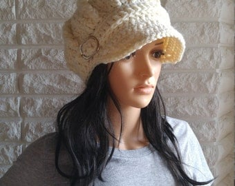 Crochet women's newsboy hat with buckle, pageboy hat in cream, white hat with brim, gifts, accessories, fall, winter and spring fashion