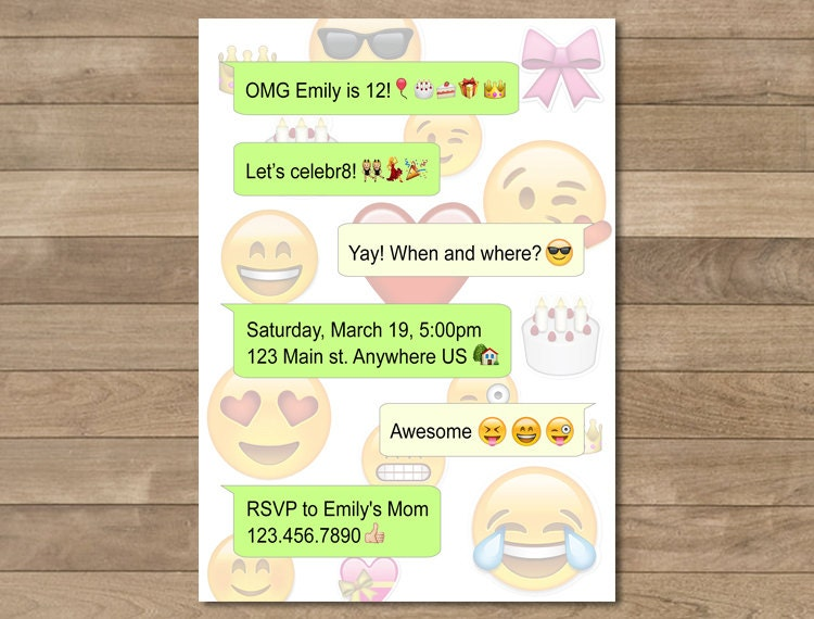 Emoji Birthday Invitation Cell Phone Invitation Printable – Cell Phone Birthday Invitations