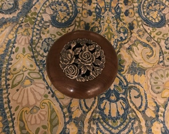 Lathe Turned Wooden Jewelry Box / Potpourri bowl with pewter lid
