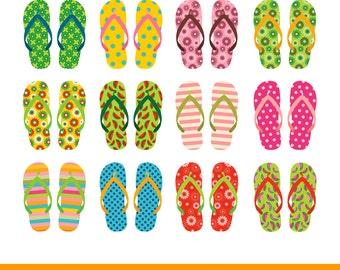 Flip flop clipart, Flip flop clip art, Summer clipart set, Beach sandals clipart, Pool party clipart, Vacation clip art, Holiday clipart