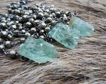 SEMI-ANNUAL SALE Raw aquamarine necklace | Pyrite necklace | Rough aquamarine necklace | Aquamarine crystal necklace | Birthstone necklace