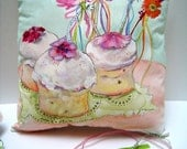 Party Pillow Decor-Hand Painted 12x12-Sweet Treats Birthdays Charming Cottage Pillow - Decorative Iced Tea Cakes ART