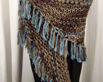 brown and blue wrap with fringe--Cowboys and Indians Knit Wrap