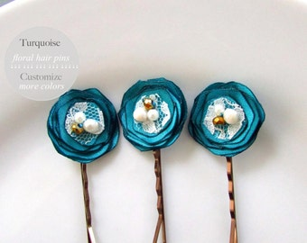 "3 Oasis Bridesmaid Turquoise Hair Pins Teal Wedding Hairpins, Teal Hair Accessory, 1"" Tiny Satin hair Flower Bobby, Ivory Cream Pearls, Gold"