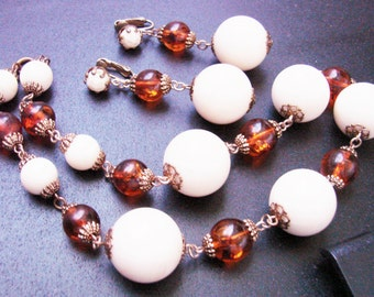Faux Amber & Creamy Lucite Bead Necklace / Matching Chandelier Earrings / Demi Parure / Vintage / Jewelry / Jewellery