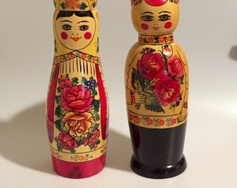 Russian Nesting Doll Bottle Holder Box Lady and Man Matryoshka
