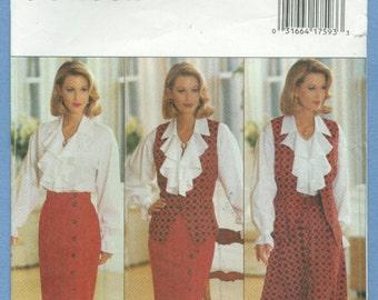 1993 Misses' Vest, Blouse & Skirt  J. G. Hook, UC FF - Butterick Sewing Pattern 3078