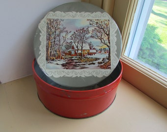 Vintage Cookie Tin Christmas Box Currier and Ives Horse Carriage Sleigh Snow Winter Vermont New England Scene Storage Biscuit Tin