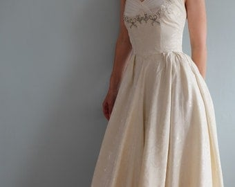 Wedding dress, vintage wedding dress, 1950s boho wedding dress, romantic wedding dress, elegant wedding gown,