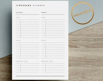 Weekend Planner Printable | To Do List Inserts | Day Tasks | Shopping | Minimalist | Black White | A4 | A5 | US Letter | Instant Download