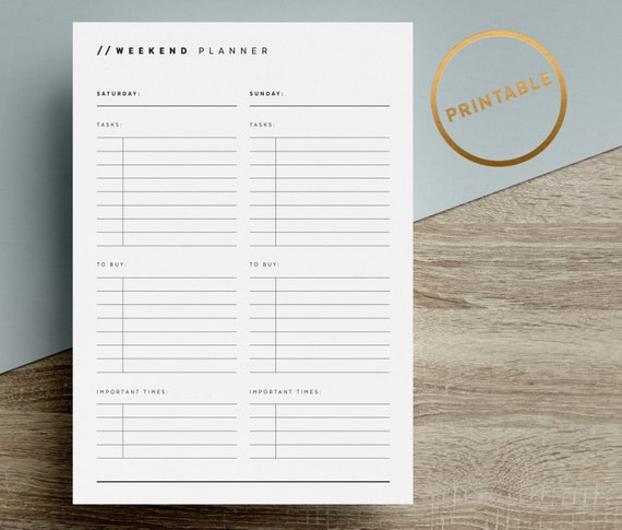 weekend planner printable to do list inserts day tasks