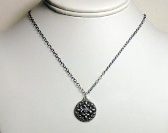 4 fleurs silver gothic quatrefoil medallion pendant
