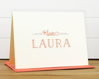 Personalized Stationery Set / Personalized Stationary Set - WITH LOVE Custom Personalized Note Card Set - Heart Sweet Thank You A Note From