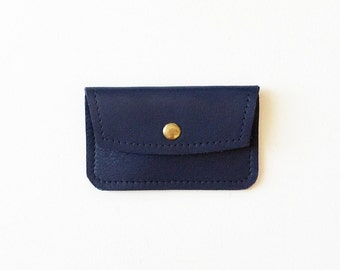 Navy Blue Leather Credit Card Wallet, Mini ID Wallet, Business Card Wallet, Gift Card Holder, Metro Card Holder, Minimal Credit Card Wallet