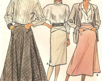 VOGUE SALE Straight A Line & Flared Skirts Womens Size 10 Vintage Uncut Sewing Pattern 1980s