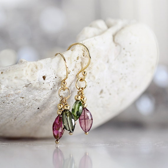 Tourmaline Earrings - Pink Tourmaline Earrings - Dangle Gemstone Earrings - October Birthstone Earrings - Green Tourmaline Earrings