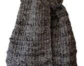 Hand Knit Scarf - Grey Black Rough-Spun Tweed Alpaca Fence Rib