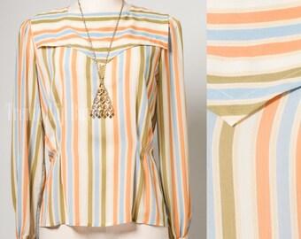 Vintage 80s Top, Vintage Stripe top, Vintage Multicolor top, Orange green Blue, 80s top - M/L