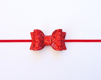 Red Glitter Bow | Small Red Glitter Bow | Red Baby Bow | Red Christmas Bow | Glitter Red Bow Baby Headband/Clip | Red Bow