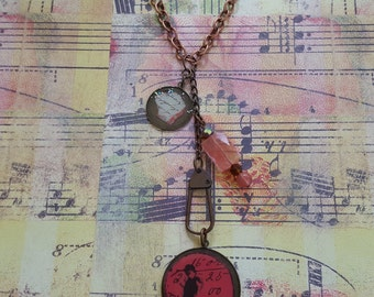 Pink Boho, Steampunk, Found Objects Necklace:Industrial Chic Handwriting Graphic Charm & Bird+Numbers Pendant+Brass Swivel Clasp+Pink Beads