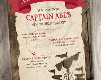 Pirate Invitation/Pirate Birthday Invitation/Pirate Birthday/Pirate Ship Invitation/Pirates Life/Pirate Party Invite/Pirate Boy Invitation