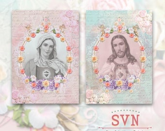 SHABBY CHIC - Virgin Mary & Jesus Christ - Catholic Inspiration - Religious Image Printable Digital Collage Sheet Download.