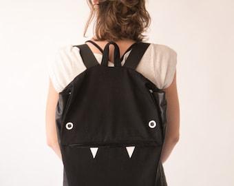 Black Backpack, Black Laptop Backpack, Minimalist Backpack,  Monster Backpack, Vegan Backpack, Faux Leather Backpack,  Men Backpack