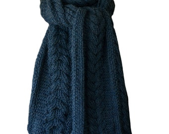 Hand Knit Scarf - Stone Blue Cable Baby Alpaca