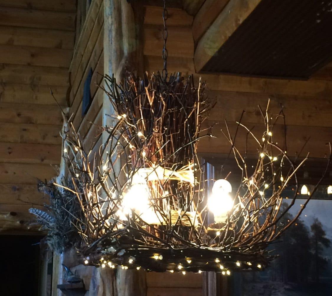 raven rock 3 light rustic twig chandelier branch. Black Bedroom Furniture Sets. Home Design Ideas