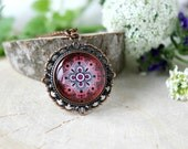 Red And Black Abstract Ornament Necklace,Antique Copper Pendant,Glass Cabochon Pendant With Chain