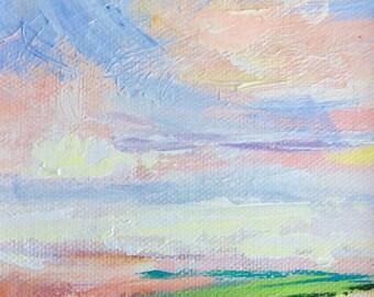 Original framed landscape painting, Down east summer sunset view 4