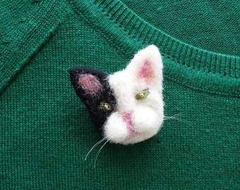 Needle Felt Cat, Cute Gifts For Her, Gifts For Aunt, Cat Jewellery, Cat Pin Badge, Rustic Brooch, Cat Brooch, Handmade Cat, Cat Pin, Cats