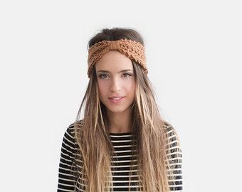 Womens Turban, Knit Headband in Copper, Wool Ear Warmer, Chunky Headband, Hand Knit Turban, Winter Accessories