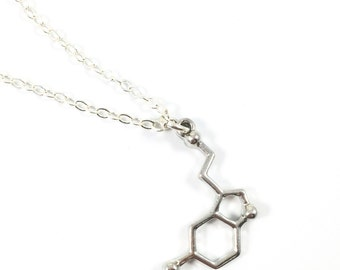 Happy Necklace, Serotonin Necklace, Science Necklace, Psychology Jewelry, Molecule Jewelry, Chemistry Jewelry, Graduation Gift, Happy Gifts