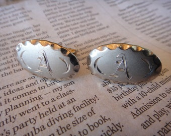Vintage Mens Cufflinks Letter A Initial A Signed Stamped Marked Cuff Links