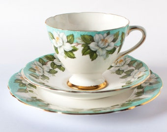 Gladstone China Tea Cup Trio 1950's English Fine China Gladstone Floral Montrose Pattern Gladstone Teacup, Saucer and Side Plate