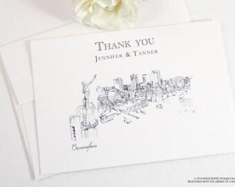 Birmingham Skyline Wedding Thank You Cards, Personal Note Cards, Bridal Shower Thank you Cards (set of 25 cards)