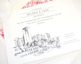 Lexington Skyline Engagement Party Invitations, Lexington Engagement Announcements You Design it! (set of 25 cards)