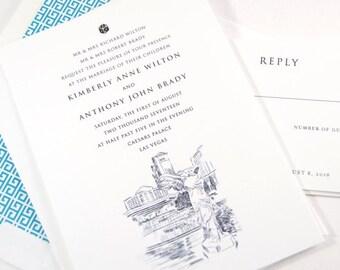 Las Vegas Caesars Palace Skyline Destination Wedding Invitation, Las Vegas Wedding (Sold in Sets of 10 Invitations, RSVP Cards + Envelopes)