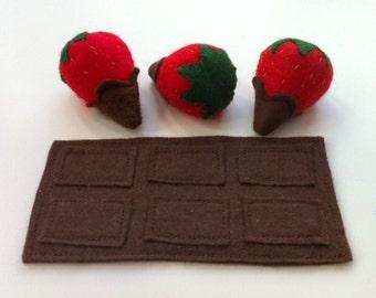Felt Pretend Play Food Chocolate Bar & Chocolate Dipped Strawberries