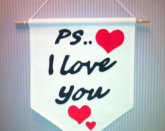 """PS... I Love You"""" Valentine's Day Banner Handmade Garland Bunting Room Decor For Door or Wall"""