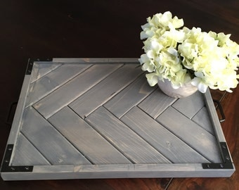 Rustic Herringbone Wood Serving Tray