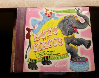Bozo at the Circus 1946 Album and picture book, 1946 kid's LP, Record and story book